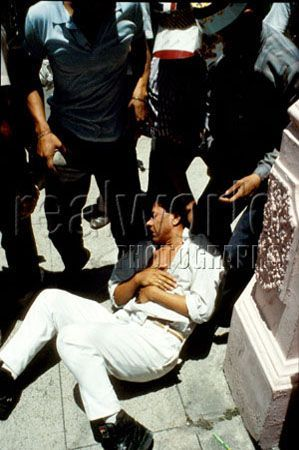 A undercover policeman faces a beating by a mad mob after learning he was involved in an undercover operation to gather intelligence on university students during a protest in San Salvador, El Salvador, Central America.